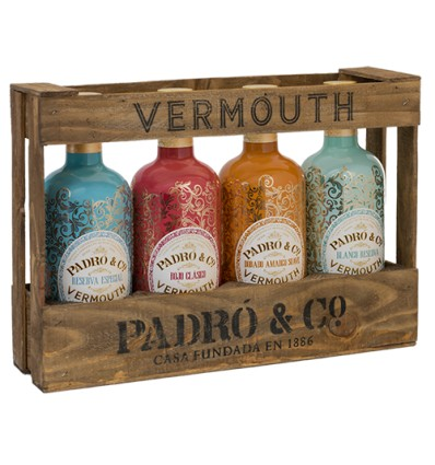 Pack Padro & Co 4 botellas con caja madera Vintage